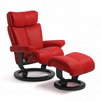 Sessel MAGIC Classic mit Hocker Leder Batick chilli red Gestell schwarz Stressless