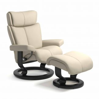 Sessel MAGIC Classic mit Hocker Leder Batick cream Gestell schwarz Stressless