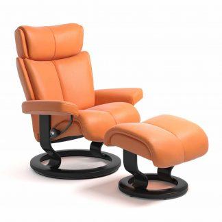 Sessel MAGIC Classic mit Hocker Leder Paloma apricot orange Gestell schwarz Stressless