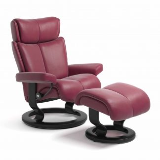 Sessel MAGIC Classic mit Hocker Leder Paloma beet red Gestell schwarz Stressless