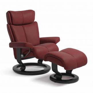 Sessel MAGIC Classic mit Hocker Leder Paloma cherry Gestell schwarz Stressless