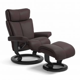 Sessel MAGIC Classic mit Hocker Leder Paloma chocolate Gestell schwarz Stressless