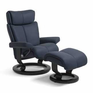 Sessel MAGIC Classic mit Hocker Leder Paloma oxford blue Gestell schwarz Stressless