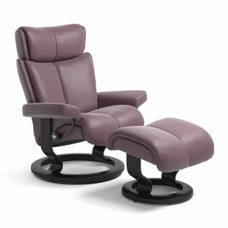 Sessel MAGIC Classic mit Hocker Leder Paloma purple plum Gestell schwarz Stressless