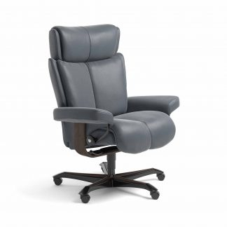Sessel MAGIC Home Office Leder Batick atlantic blue Gestell wenge mit Rollen Stressless