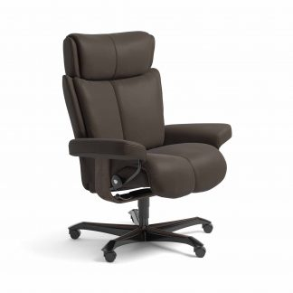 Sessel MAGIC Home Office Leder Batick braun Gestell wenge mit Rollen Stressless