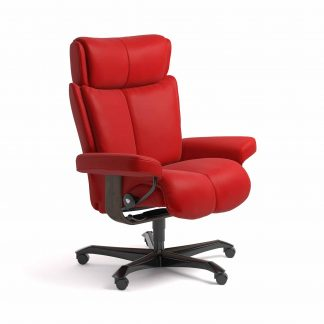 Sessel MAGIC Home Office Leder Batick chilli red Gestell wenge mit Rollen Stressless