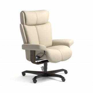 Sessel MAGIC Home Office Leder Batick cream Gestell wenge mit Rollen Stressless