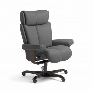 Sessel MAGIC Home Office Leder Batick grau Gestell wenge mit Rollen Stressless