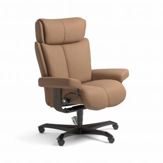 Sessel MAGIC Home Office Leder Batick latte Gestell wenge mit Rollen Stressless