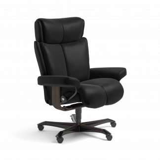 Sessel MAGIC Home Office Leder Batick schwarz Gestell wenge mit Rollen Stressless