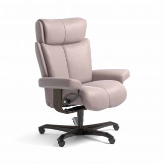 Sessel MAGIC Home Office Leder Batick smoke rose Gestell wenge mit Rollen Stressless