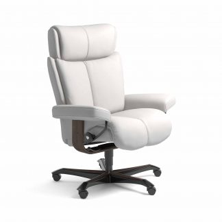 Sessel MAGIC Home Office Leder Batick snow Gestell wenge mit Rollen Stressless