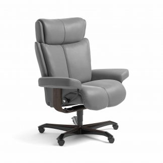 Sessel MAGIC Home Office Leder Batick wild dove Gestell wenge mit Rollen Stressless