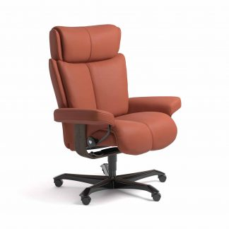Sessel MAGIC Home Office Leder Paloma henna Gestell wenge mit Rollen Stressless