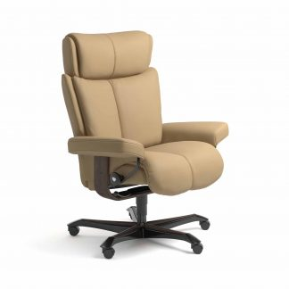 Sessel MAGIC Home Office Leder Paloma sand Gestell wenge mit Rollen Stressless