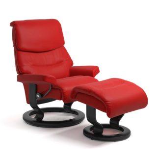 Sessel CAPRI Classic mit Hocker Leder Batick chilli red Gestell schwarz Stressless