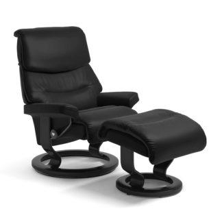 Sessel CAPRI Classic mit Hocker Leder Batick schwarz Gestell schwarz Stressless