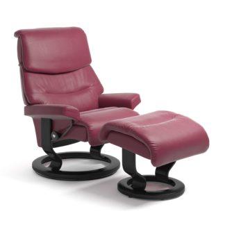 Sessel CAPRI Classic mit Hocker Leder Paloma beet red Gestell schwarz Stressless