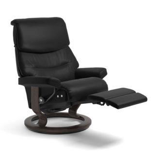 Sessel CAPRI Classic Legcomfort Leder Batick schwarz Gestell wenge Stressless