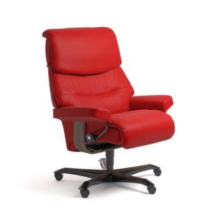 Sessel CAPRI Home Office Leder Batick chilli red Gestell walnuss mit Rollen Stressless