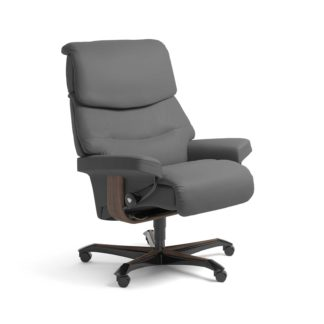 Sessel CAPRI Home Office Leder Batick grau Gestell walnuss mit Rollen Stressless