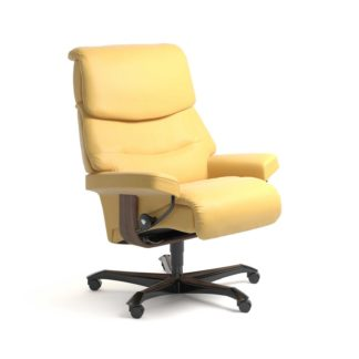 Sessel CAPRI Home Office Leder Batick mimosa Gestell walnuss mit Rollen Stressless