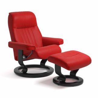 Sessel CROWN Classic mit Hocker Leder Batick chilli red Gestell schwarz Stressless