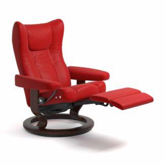 Sessel WING Classic Legcomfort Leder Batick chilli red Gestell braun Stressless