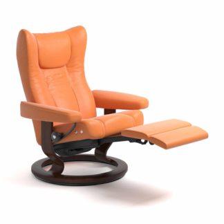 Sessel WING Classic mit Hocker Leder Paloma apricot orange Gestell braun Stressless
