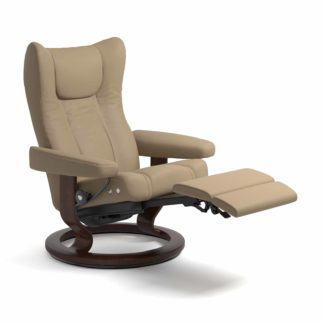 Sessel WING Classic mit Hocker Leder Paloma funghi Gestell braun Stressless