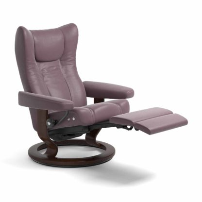 Sessel WING Classic mit Hocker Leder Paloma purple plum Gestell braun Stressless