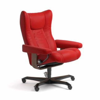 Sessel WING Home Office Leder Batick chilli red Gestell walnuss mit Rollen Stressless