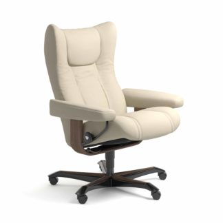 Sessel WING Home Office Leder Batick cream Gestell walnuss mit Rollen Stressless