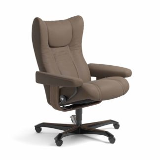 Sessel WING Home Office Leder Batick mole Gestell walnuss mit Rollen Stressless