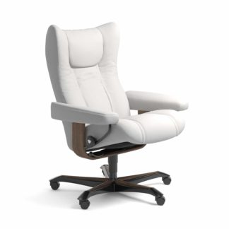 Sessel WING Home Office Leder Batick snow Gestell walnuss mit Rollen Stressless