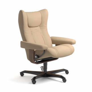 Sessel WING Home Office Leder Paloma beige Gestell walnuss mit Rollen Stressless