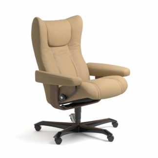 Sessel WING Home Office Leder Paloma sand Gestell walnuss mit Rollen Stressless