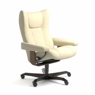 Sessel WING Home Office Leder Paloma vanilla Gestell walnuss mit Rollen Stressless