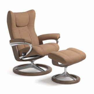 Sessel WING Signature mit Hocker Leder Batick latte Gestell walnuss Stressless