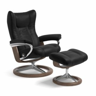 Sessel WING Signature mit Hocker Leder Batick schwarz Gestell walnuss Stressless