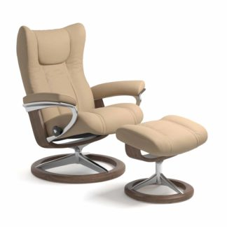 Sessel WING Signature mit Hocker Leder Paloma beige Gestell walnuss Stressless