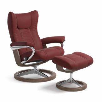 Sessel WING Signature mit Hocker Leder Paloma cherry Gestell walnuss Stressless