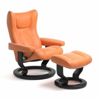 Sessel WING Classic mit Hocker Leder Paloma apricot orange Gestell schwarz Stressless