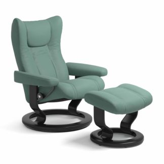 Sessel WING Classic mit Hocker Leder Paloma aqua green Gestell schwarz Stressless