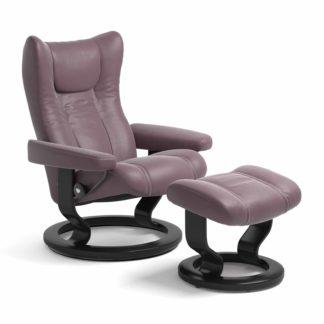 Sessel WING Classic mit Hocker Leder Paloma purple plum Gestell schwarz Stressless