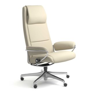Sessel PARIS High Back Home Office Leder Batick cream Starbase Stahlgestell mit Rollen Stressless