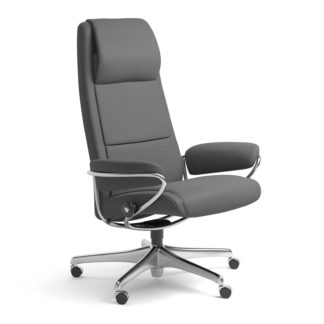 Sessel PARIS High Back Home Office Leder Batick grau Starbase Stahlgestell mit Rollen Stressless