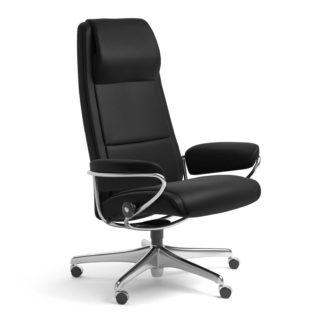 Sessel PARIS High Back Home Office Leder Batick schwarz Starbase Stahlgestell mit Rollen Stressless