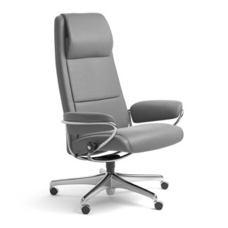 Sessel PARIS High Back Home Office Leder Batick wild dove Starbase Stahlgestell mit Rollen Stressless